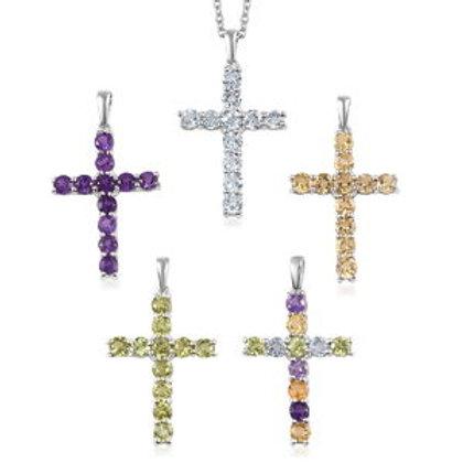 Set of 5 Multi Gemstone Cross Pendants Necklace (20 in). 6.70 CTW