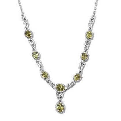 2.65 ctw Demantoid Garnet Necklace 18 Inch in Platinum Over Sterling Silver