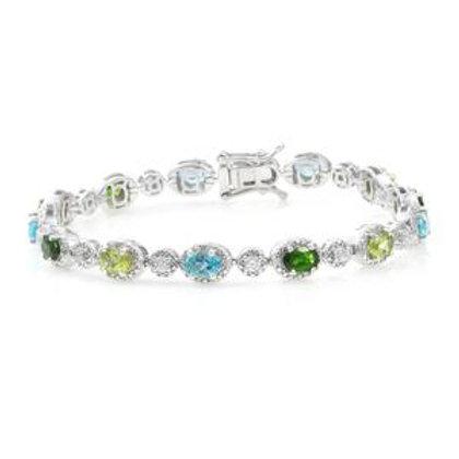 Paraiba Apatite, Multi Gemstone Platinum Over Sterling Silver Bracelet 7.31 CTW
