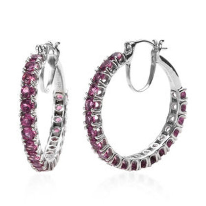 8.80 ctw Tanzanian Wine Garnet Hoop Earrings in Platinum Over Sterling Silver
