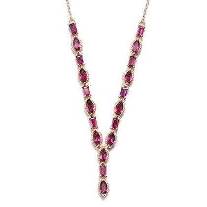 8.25 CTW Rhodolite Garnet Necklace 18 Inch