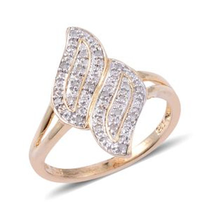 Diamond 14K RG Over Sterling Silver Ring TDiaWt 0.06 cts,
