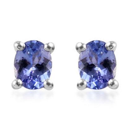 0.70 ctw Tanzanite Stud Earrings in Platinum Over Sterling Silver