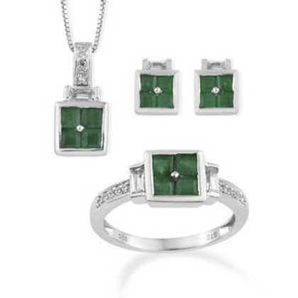 3.36 CTW Brazilian Emerald and White Topaz Earrings, Ring (7) and Necklace Set