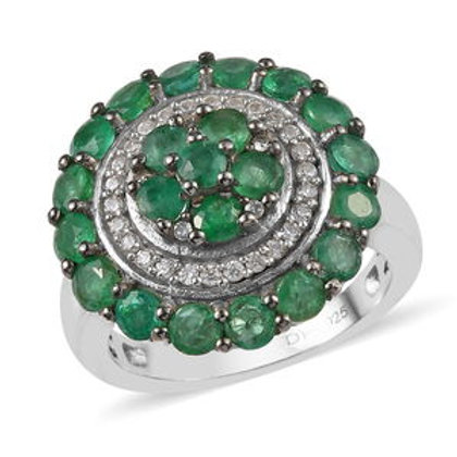 Zambian Emerald and Natural White Zircon Ring.  2.40 CTW