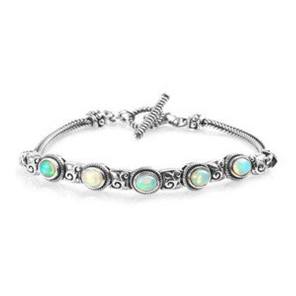1.25 ctw Ethiopian Welo Opal Bracelet in Black Oxidized Sterling Silver
