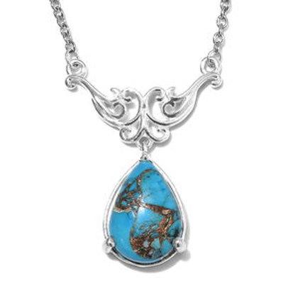 5.25 ctw Matrix Chestnut Brine Turquoise Necklace 18 inch