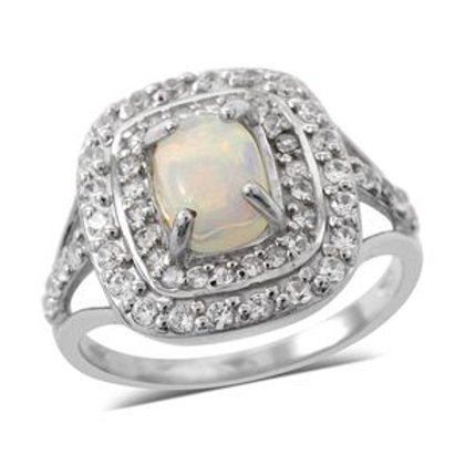 2.03 CTW Ethiopian Welo Opal and Natural White Zircon Ring (7)