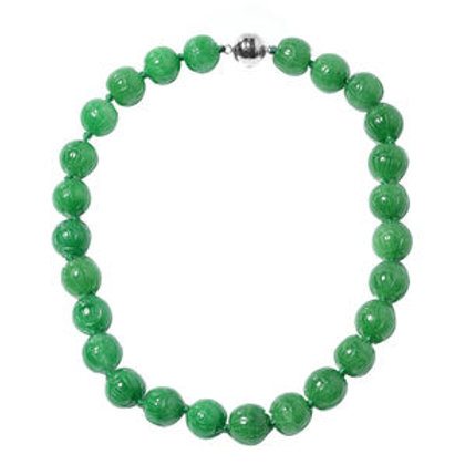 Burmese Green Jade Carved Beads Necklace.  853.50 CTW