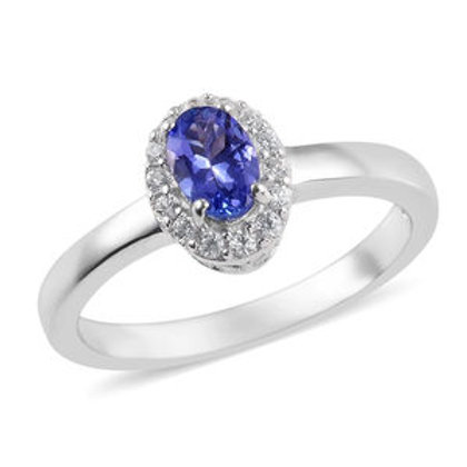 0.60 CTW Tanzanite and Zircon Ring Size 8