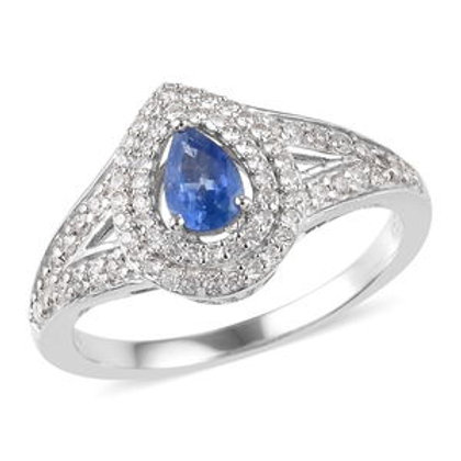 1 CTW Burmese Blue Sapphire and Zircon Ring Size 9