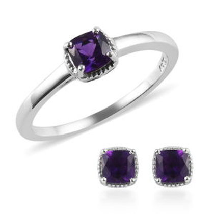 Lusaka Amethyst Stud Earrings and Solitaire Ring (Size 8)