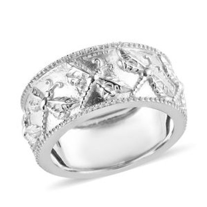 Dragonfly Band Ring (7) in Platinum Over Sterling Silver 4.25 Grams