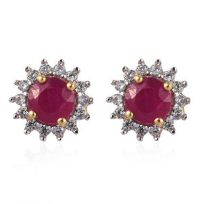 Ruby (ff), Natural White Zircon Floral Halo Stud Earrings.  2.00 CTW