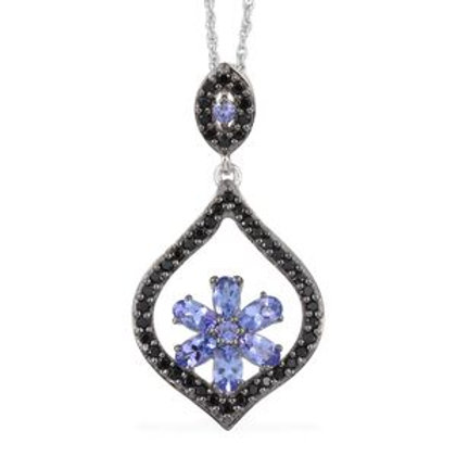 Tanzanite, Thai Black Spinel Sterling Silver Pendant without Chain 2.23 CTW