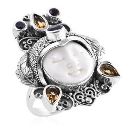 Bali Goddess Carved Bone, Multi Gemstone Ring (Size 8.0)