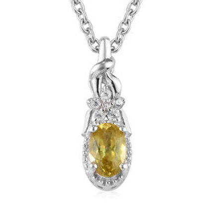 Madagascar Sphene, Zircon Pendant Necklace.  CTW 0.60