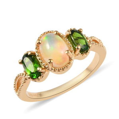 Welo Opal, Russian Diopside Ring.  Size 7.  1.05 CTW