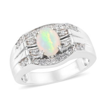 Welo Opal, Natural White Zircon Men's Ring.  Size 14.  1.10 CTW