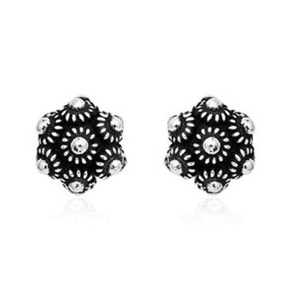 Milgrain Flower Stud Earrings in Black Oxidized Sterling Silver (3.45 g)