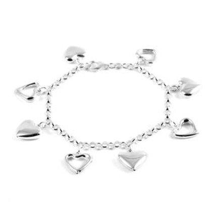 Sterling Silver Heart Charm Bracelet (7.50 In) (12.1 g)
