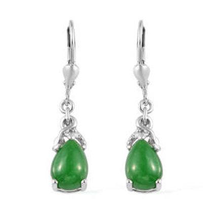 Burmese Green Jade Lever Back Earrings