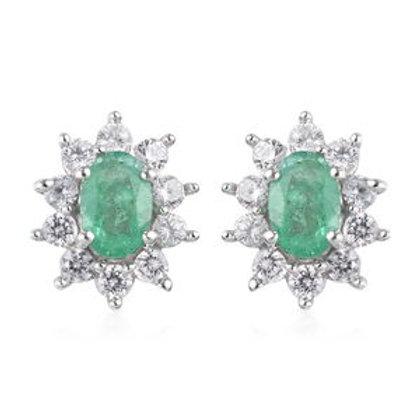 1.80 CTW Zambian Emerald and Zirconn Earrings i