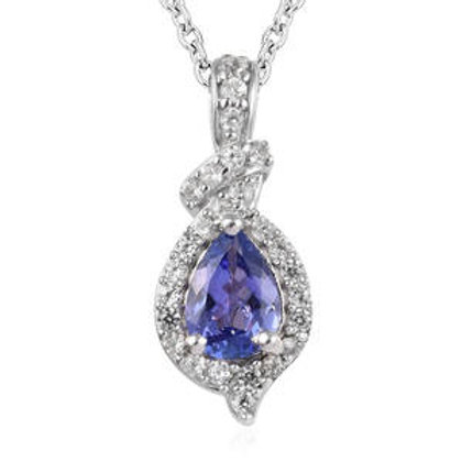1 ctw AAA Tanzanite and Natural White Zircon Pendant Necklace