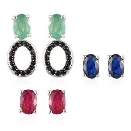 Multi Gemstone Multi Wear Interchangeable Earrings.  4.10 CTW