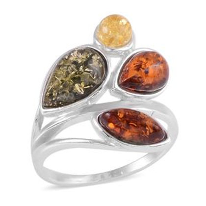 Artisan Crafted Multi Color Amber Ring.  Size 7