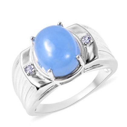 Burmese Blue Jade and Tanzanite Men's Ring  (Size 13.0) 6.20 CTW