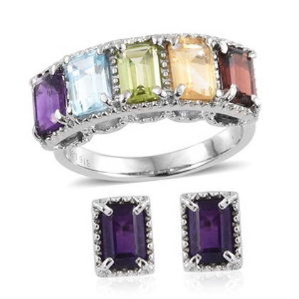 4.25 ctw Multi Gemstone Earrings and 5 Stone Ring Size 5