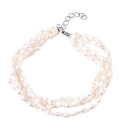 Freshwater White Pearl Multi-Strand Bracelet in Sterling Silver (7.50 In)