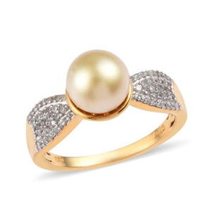 0.48 ctw South Sea Golden Cultured Pearl 9-9.9 mm and Zircon Ring