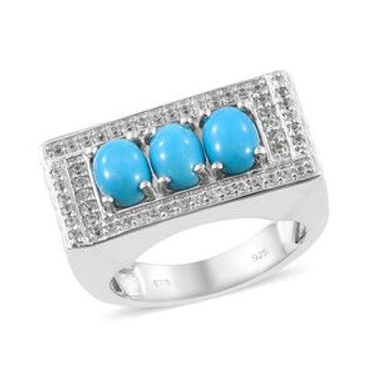 Arizona Sleeping Beauty Turquoise, White Zircon Men's Ring.  Size 14.  2.62 CTW