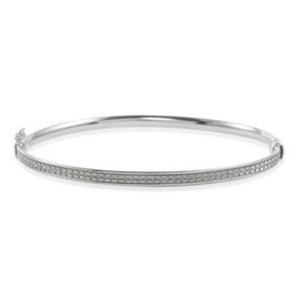 Sterling Silver Stardust Bangle Bracelet (7.50 In) (5.20 g)