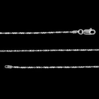 Italian Diamond Cut Tube Necklace 30 Inch in Platinum Over Sterling Silver 6.2 g