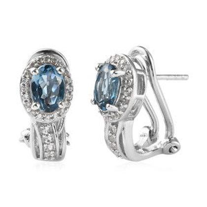 London Blue Topaz, White Zircon J-Hoop Earrings in Platinum Over Sterling Silver
