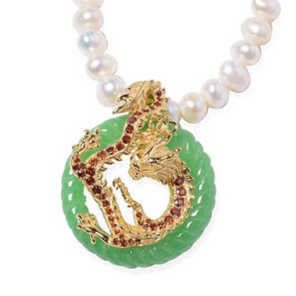 18.94 ctw Burmese Green Jade, Freshwater Pearl Dragon Pendant Necklace 18 Inch