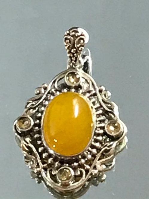 Artisan Crafted Burmese Honey Jade, Brazilian Citrine Pendant.  11.76 CTW