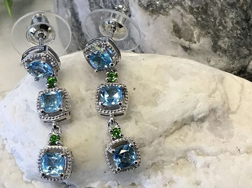 Marambai Topaz, Russian Diopside Earrings Platinum over Sterling Silver 2.50 ctw