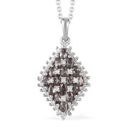 2.20 ctw Color Change Garnet and Zircon Pendant and Necklace 20 Inch in