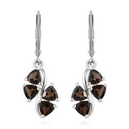 2.20 ctw Brazilian Smoky Quartz Lever Back Earrings in Sterling  Silver 3.65 CTW