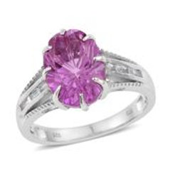 African Lilac Quartz, White Topaz Platinum Over Sterling Silver Ring (Size 11.0)