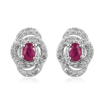 0.84 ctw Burmese Ruby and Zircon Stud Earrings