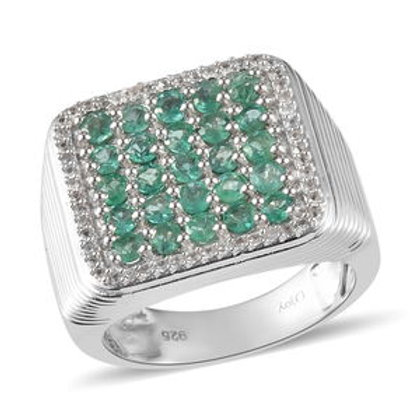 Socoto Emerald, Zircon Men's Ring (12) Platinum Over Sterling Silver. 2.80 CTW