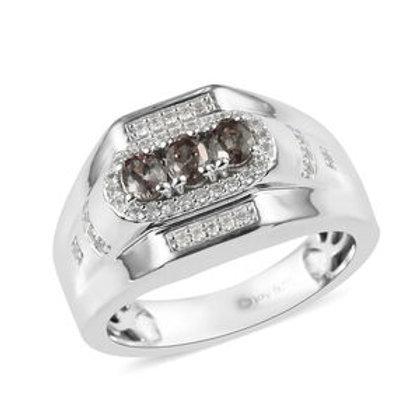 1.00 ctw Color Change Garnet and Zircon Men's Ring (size 13).