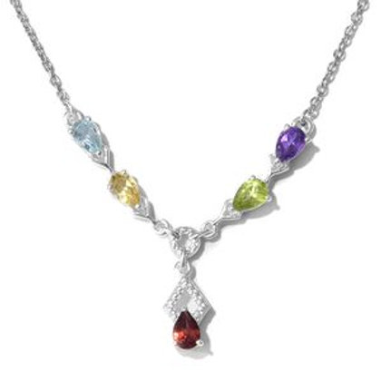 Multi Gemstone Princess Style Necklace.  1.87 CTW.