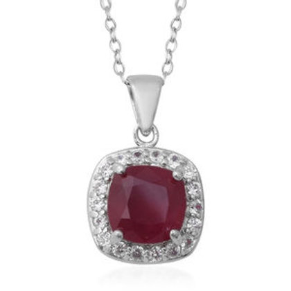 5.56 ctw Niassa Ruby and Natural White Zircon Pendant Necklace 18 Inch