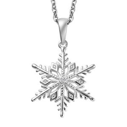 Diamond Accent Snowflake Pendant Necklace 20 Inch in Sterling Silver & Stainless